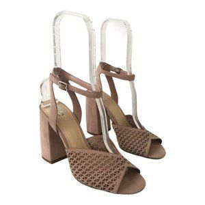 Vince Camuto Blush Suede Gedda Laser Cut Sandals